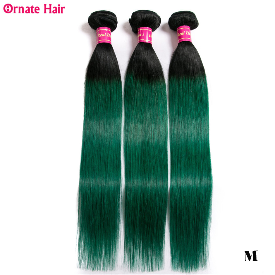 Ombre Colored Hair Bundles 100% Human Hair Extension Brazilian Straight Hair Bundles T1b/green Ornate Hair Non-Remy Middle Ratio