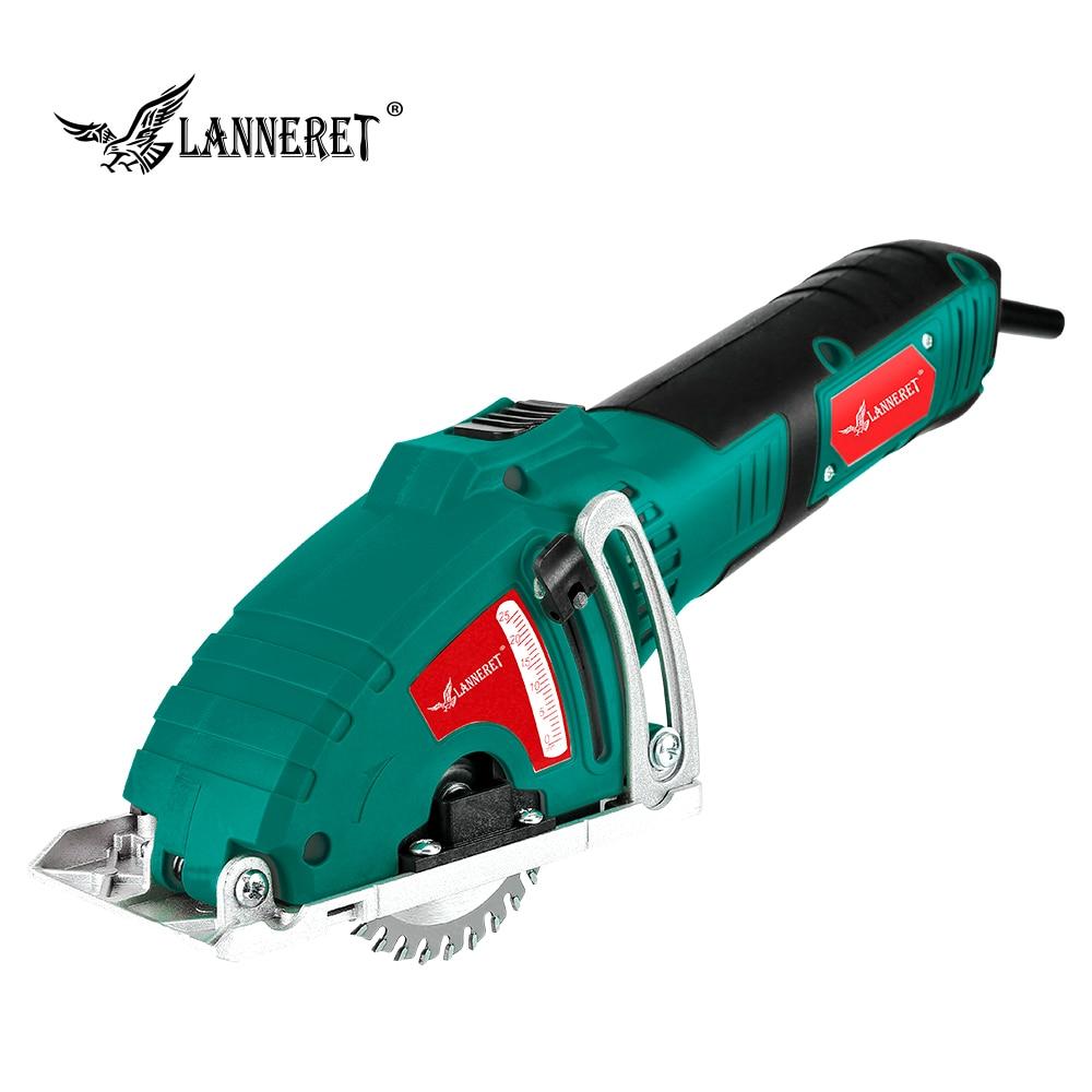 LANNERET Mini sierra Circular eléctrica 700W Mini Sierra herramienta de mano, sierra de madera Sierra de Metal, guía paralela herramientas de acoplamiento, 3 uds cuchillas