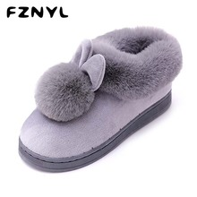 цены FZNYL 2019 Winter Warm Indoor Slippers Women Men Faux Fur Soft Comfortable Home Shoes Flat Non-slip House Floor Slipper Ladies