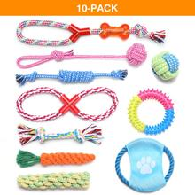1 Set Dog Chewing Toys Chew Gift Pet Rope Flying Discs Toy Durable Braided Bone Training 5-10 pcs