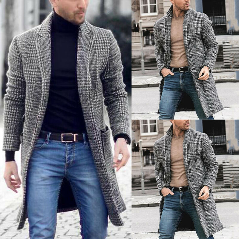 Korean Men Wool Blends Coats Overcoat Male Winter Warm Clothes Wool Outwear Long Black White Plaid Blends Male Coat Plus Size