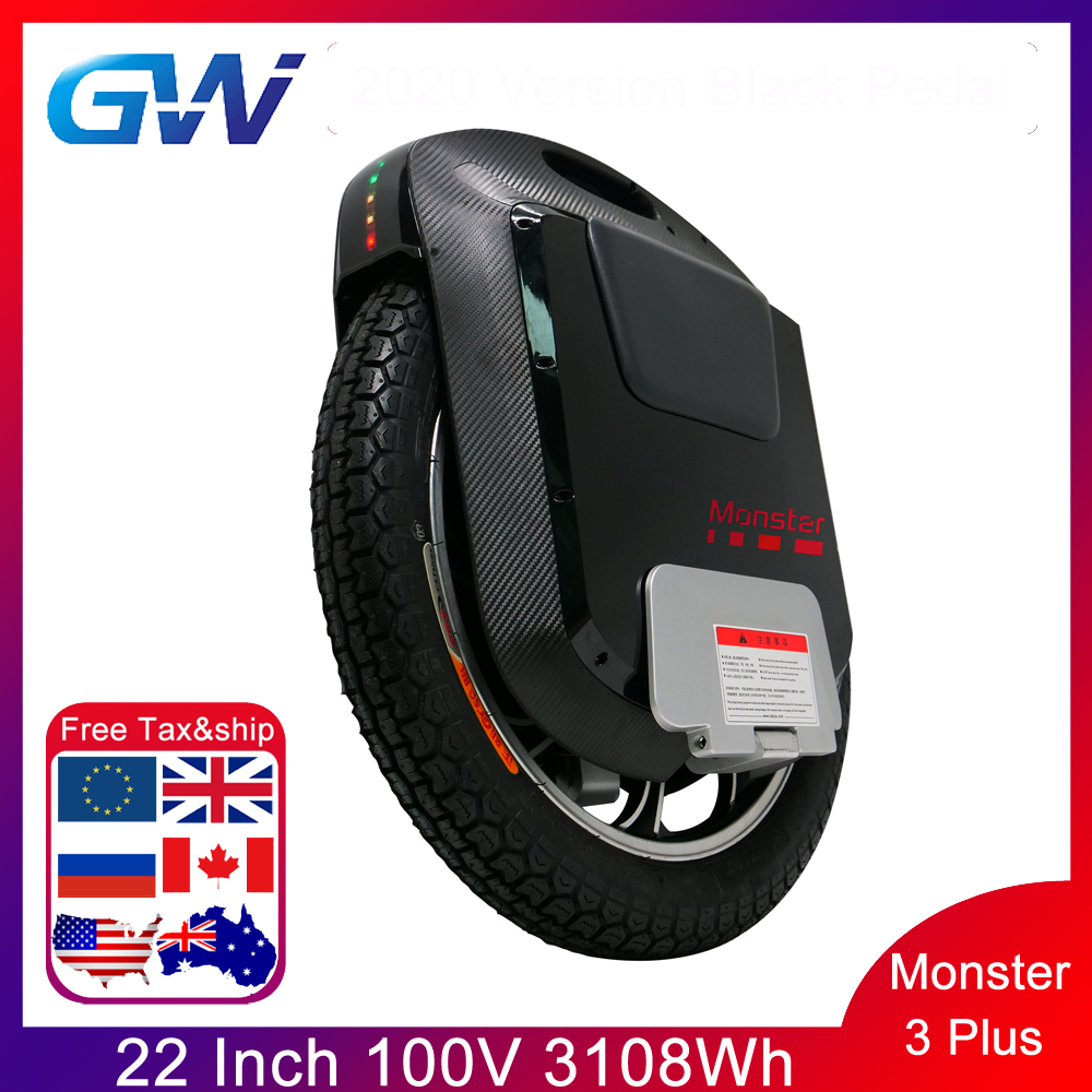2020 Gotway Monster 3 Plus 22inch TiTan 3th Monster Electric Unicycle 100V 3108WH Carbon Black Bluetooth Speaker 21700 Battery