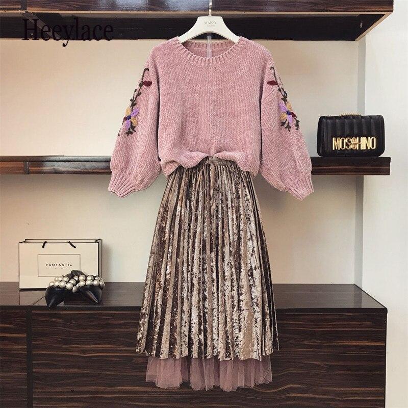 Autumn Winter Two Piece Set Velvet Dresses Vintage Dress Elegant Dress Women 2019 Korean Clothes Sweater+skirt Sets Plus Size