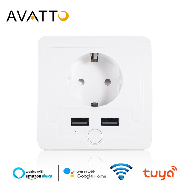 AVATTO Smart USB Wall Socket 16A EU Wifi Power Plug Works With Google Home Alexa IFTTT Tuya Smart life APP Voice Remote Control