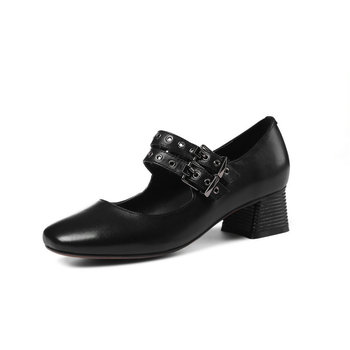 100% cow  Leather high Heels women Pumps metal buckle Mary Jane Brand Office ladies shoes Sexy summer Spring Shoes Woman