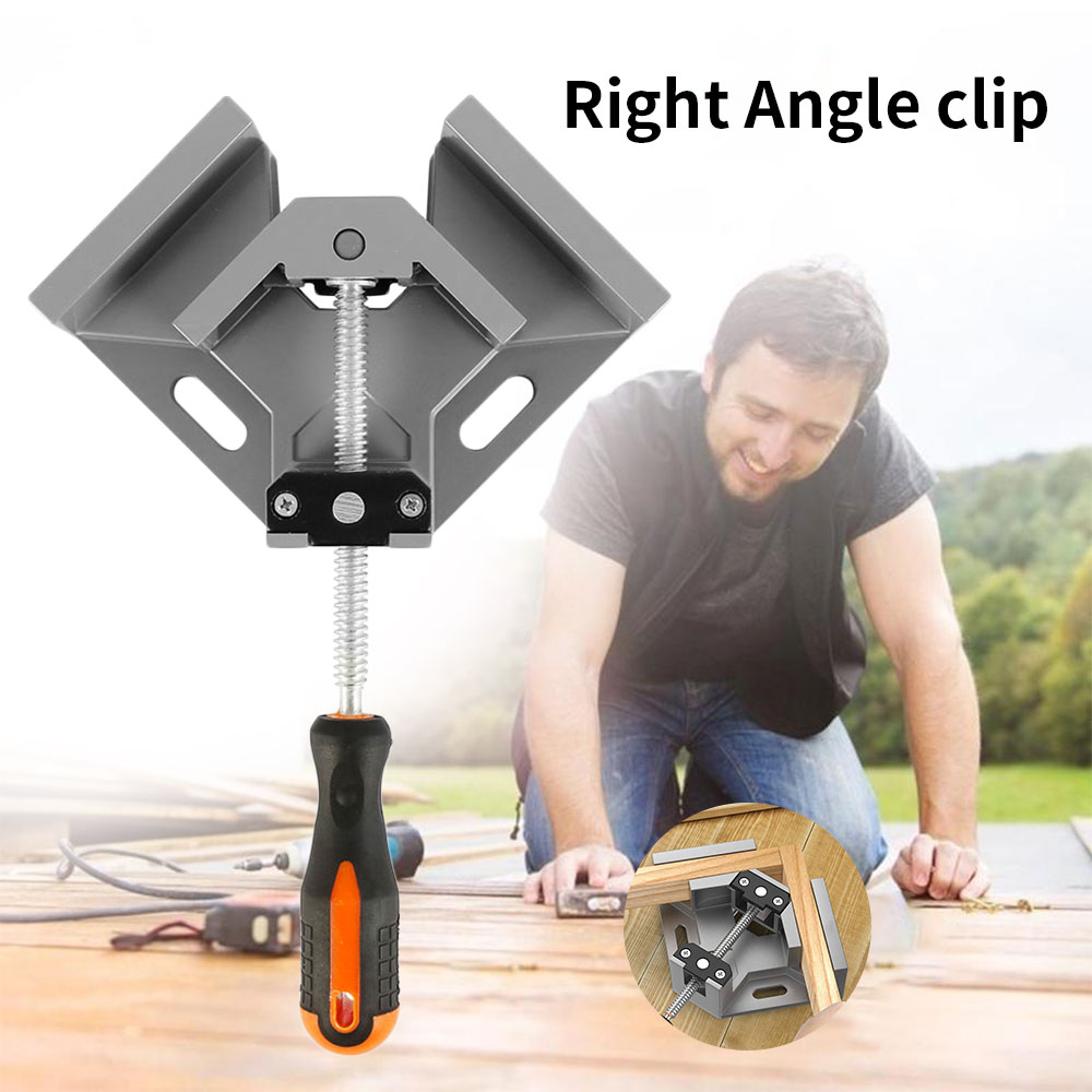 2 Pcs Aluminum Single Handle 90 Degree Right Angle Clamp Angle Clamp Woodworking Frame Clip Right Angle Folder Tool