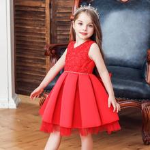 2019 New pattern dress children girl Sleeveless princess Gemstone decoration Wedding presiding Stage performance