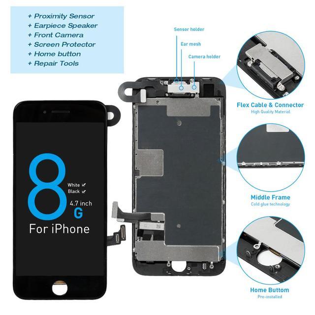 Montagem completa tela oem para iphone 8 mais display lcd digitador substituição com câmera frontal + alto falante placa pantalla