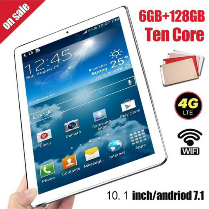 10.1 Inch Android 8.0 Android Tablet  Octa Core RAM 6GB ROM 128GB 4G Dual SIM Card Phone 4G Call Wifi Tablets PC 2.0MP+5.0MP