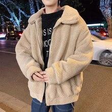 Chaqueta de pelo de cordero para hombre, Parka cálida de moda, abrigo corto de felpa grueso, ropa de calle para hombre, ropa de algodón holgada, S-5XL para hombre