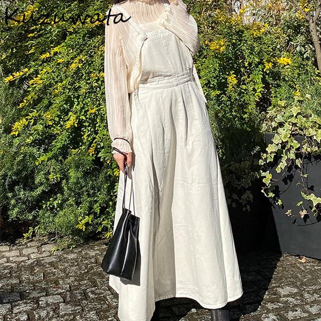 Kuzuwata High Waist Hip A Line Camis Dress Women Sexy Sleeveless Shoulder Strapless Denim Vestidos Summer 2021 New Slim Robe 2