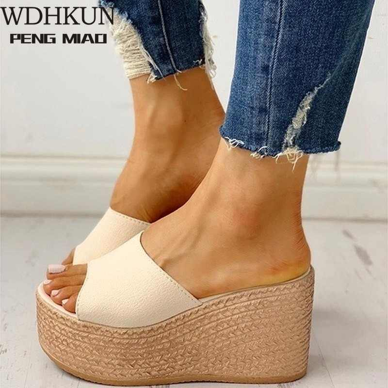 Womens Fashion Open Toe Mules Sandals High wedge heel platform Casual Summer Hot