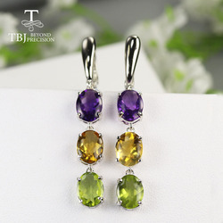 TBJ ,9.5ct Colorful Gemstone Long earring oval 7*9mm natural amethyst citrine peridot gemstone  fine jewelry 925 sterling silvr
