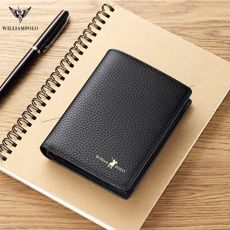 Williampolo leather wallet men's zipper large capacity credit card clip multi functional leather driver's license Coin Wallet