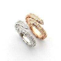 316l Titanium Stainless Steel 18k Rose/White Gold Plated Diamond Ring Women Men Luxury Full Crystal Snake Engagement Couple Ring