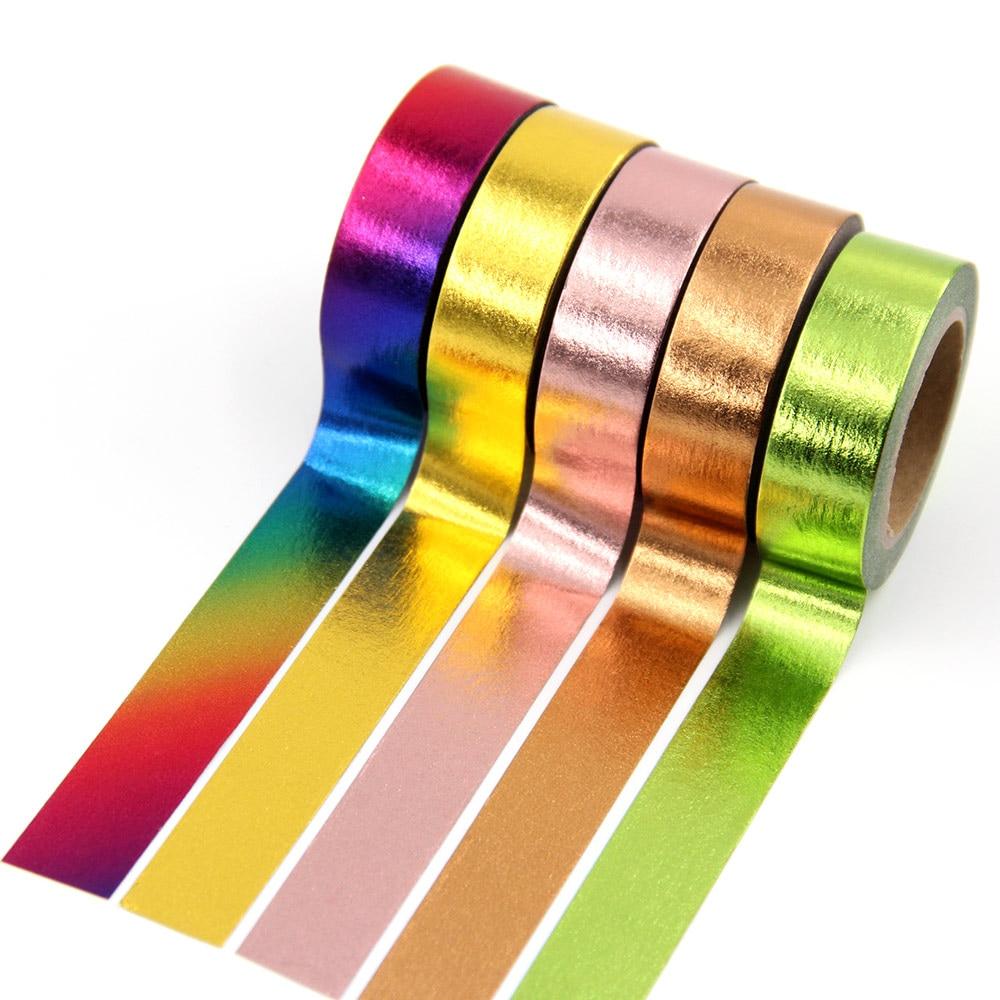 1X 15mm*10m Gold Foil Washi Tape Silver/Gold/Bronze/Rose/Green/purple Color Japanese Kawaii DIYScrapbooking Tools Masking Tape
