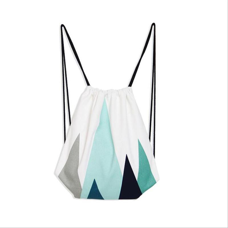 1 Pcs Unisex Casual Green Mountain Color Canvas Drawstring Bag Simple Casual Travel Canvas Drawstring Backpack Bag