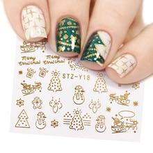1 pièces or argent noël Design Nail Art autocollants hiver neige fleur curseurs eau décalcomanies pour ongles manucure outil LASTZ YA 2