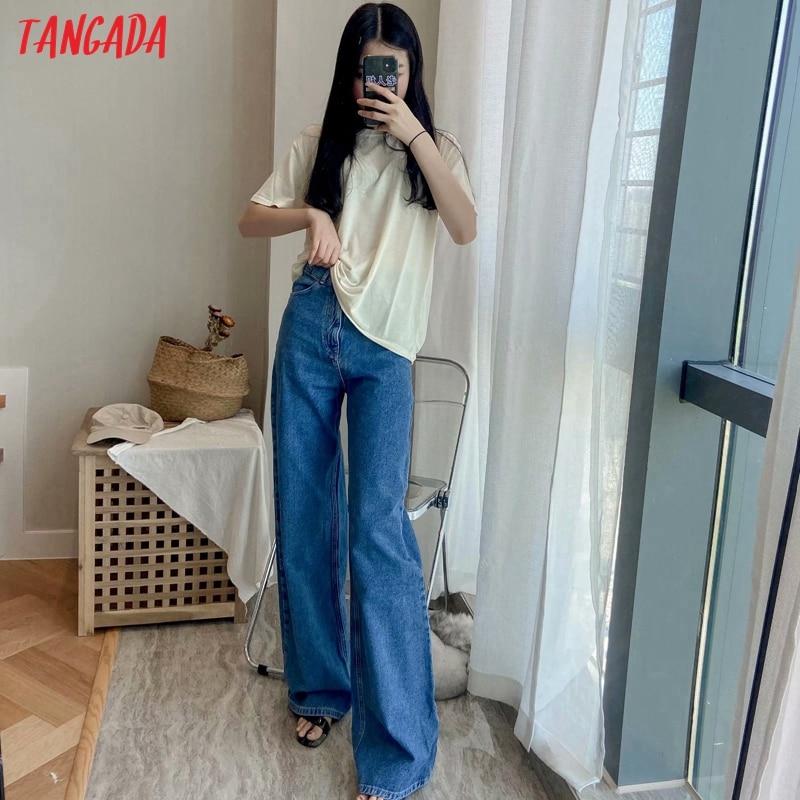Tangada 2020 women high waist overlength jeans pants trousers pockets zipper female wide leg denim pants 4M520 4