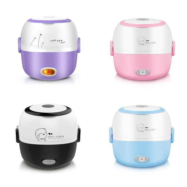 Lunch Box Heated Food Containers 110v 220v Electric Box Lunch Purple Container for Food Stainless Steel Bento Box