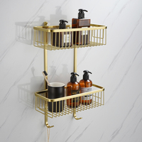 Bathroom double layer rack storage rack 304 stainless steel brushed golden bathroom shower gel toiletries basket double square s