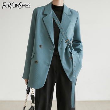 FORYUNSHES Women Blue Brief Bandage Temperament Blazer 2020 Spring Autumn New Fashion Lapel Long Sleeve Loose Fit Jacket Tide spring autumn 2020 women tops green plaid split big size blazer new lapel long sleeve loose fit jacket fashion tide korean