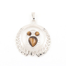 FYJS Unique Jewelry Silver Plated Decorative Pattern Wisdom Owl Natural Tiger Eye Stone Pendant