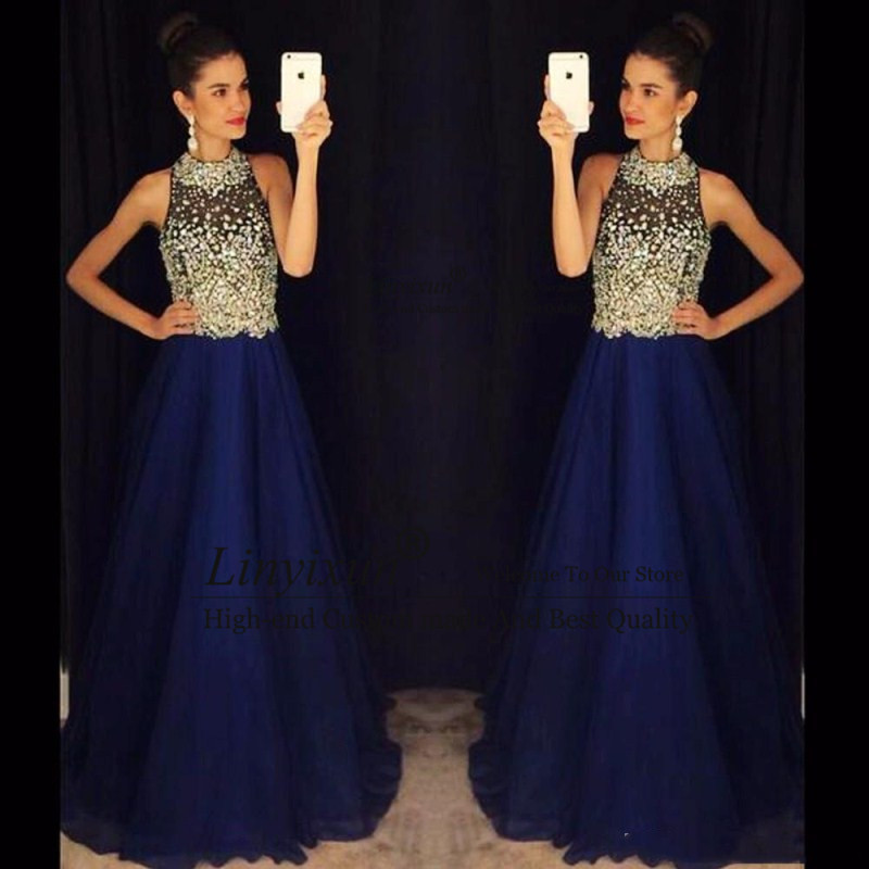 Sexy A Line Royal Blue   Prom     Dresses   High Neck Beaded Crystals Chiffon Long Evening   Dresses   Sleeveless   Prom   Gowns