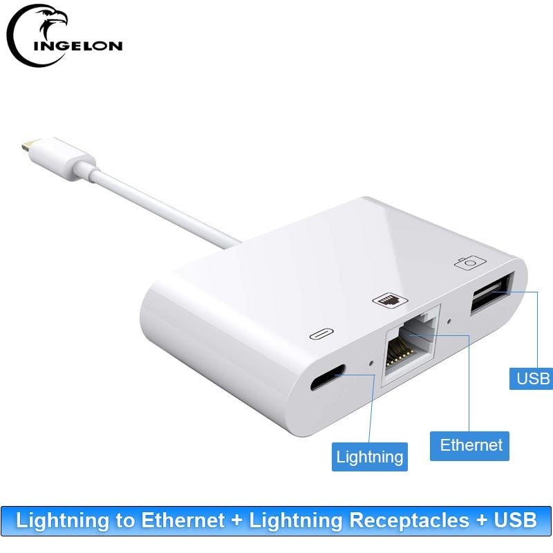 Ipad do Iphone ao Cabo do Adaptador da Câmera de Usb o Relâmpago de Ingelonlightning para Ethernet Rj45 + Usb + Adaptador do Cubo do Relâmpago Porta Splitter