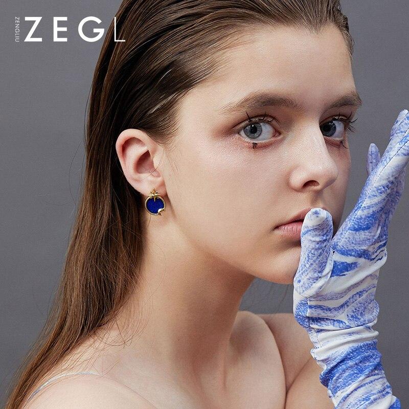 ZEGL étoiles lune boucles d'oreilles actrice lune boucles d'oreilles 2019 nouvelle marée ciel étoilé boucles d'oreilles mode asymétrique boucles d'oreilles - 2