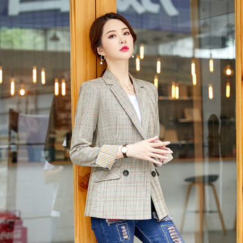 High quality plaid small suit feminine 2020 casual office ladies blazer jacket Female Elegant Double-Breasted Slim Jacket Coat