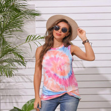 2020 Summer new European and American women's clothing round neck tie-dye twisted printed vest T-shirt female #9187