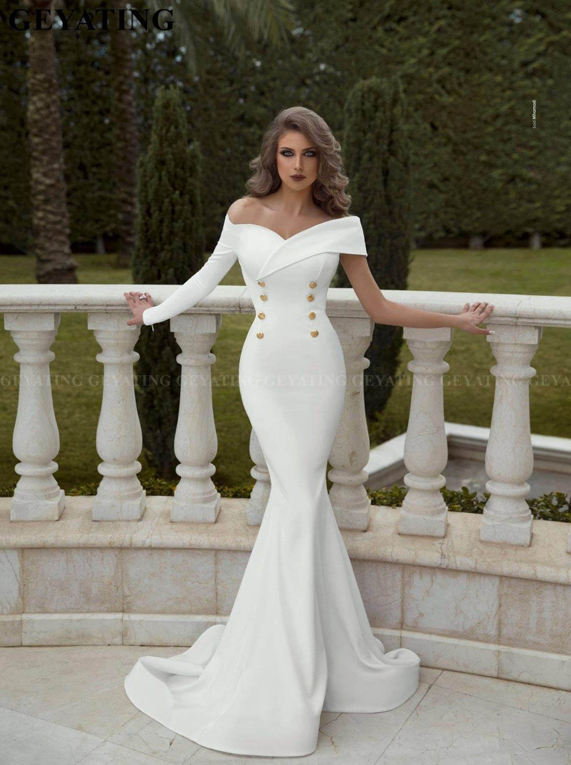 Elegant Long White Mermaid Dubai Evening Dresses 2020 Off The Shoulder One Sleeve Arabic Prom Dress Buttons Formal Party Gowns