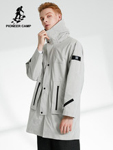 Pioneer Camp Autumn Fashion Long Sleeve Jacket Trench Men Black Blue Khaki Hooded Cargo Pocket Loose Coat Male AJK908153T(China)