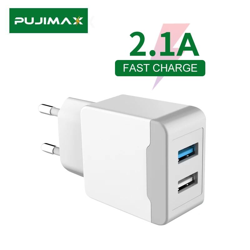 PUJIMAX חכם USB מטען 2 יציאות האיחוד האירופי תקע מהיר מתאם נייד נסיעות מהיר טעינה עבור iPhone/סמסונג/Huawei/Mate20/Xiaomi