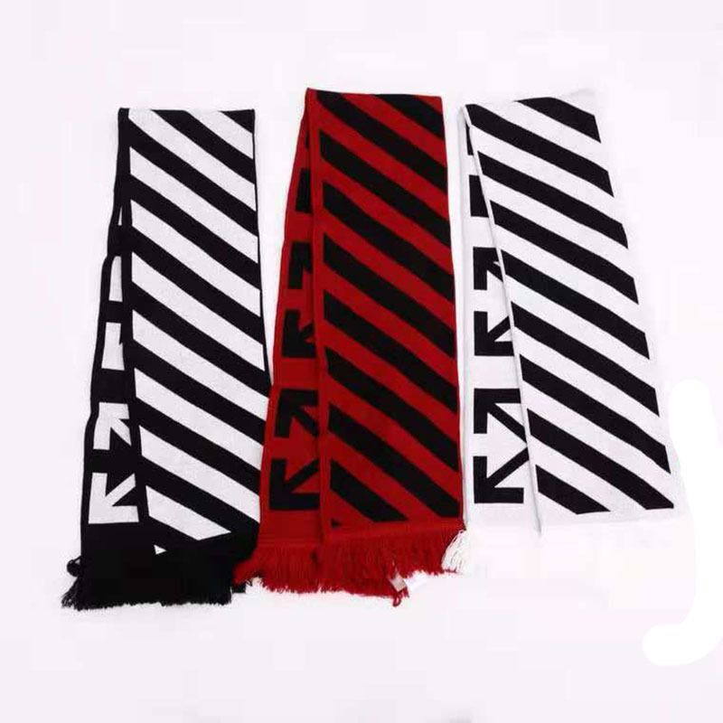 Ow Fashion Lengthen Stripes Ten Arrowhead Scarf White Fake Foreign Velvet Scarf Jacquard Tassels Fans Scarf Men And Women