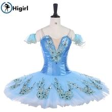 Higirl BT9142 Adult Professional Chiffon Ballet Tutu Dance Skirt Dance Skate Girls Basic Practice Ballet Skirt Sky Blue