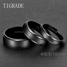Tigrade Black Titanium Ring For Men Wedding Engagement Jewelry Band 4/6/8/10 mm Cool Dark Classic Unisex Female Size 4-15