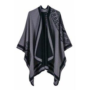 Image 5 - 2019 frauen Outwear Winter Schals Herbst Kaschmir Ponchos Decke Damen Stricken Schal Cape Cashmere Schal Poncho Dame Pashmina