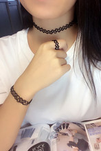 Net Strap Neck Ring Handcrafted Elastic Collar Tattoo Choker Necklace Finger Ring Bracelet for Women Jewelry Set Nice Gift(China)