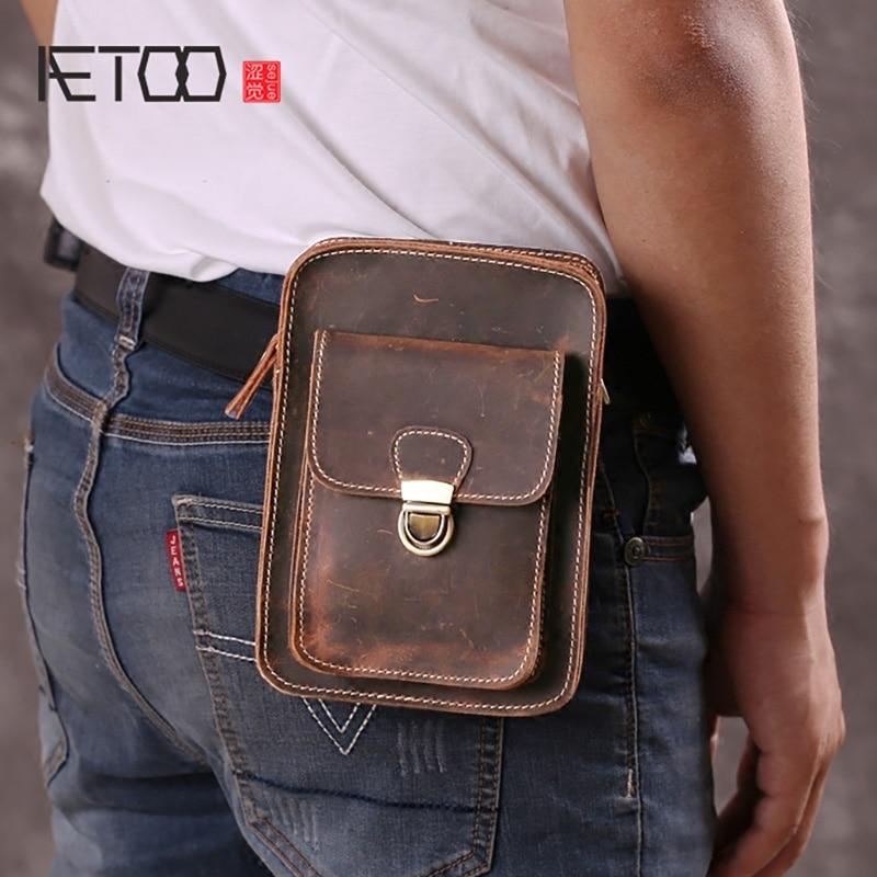 AETOO Men's Mini Bag, One-shoulder Slant Vertical Retro Leather Bag, Portable Small Waist Bag