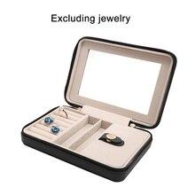 купить Women Makeup Carrying Leather Jewelry Box Necklace Ring Earring Storage Organizer Box Portable Travel Jewelry Case with Mirror по цене 948.96 рублей