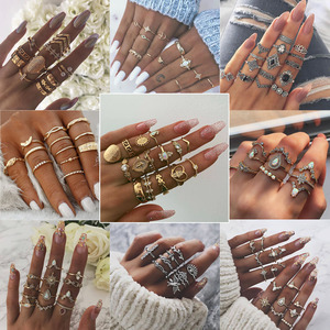 Gothic Gold Wedding Ring Vintage Crown Water Drops Star Geometric Crystal Rings Set Women Charm Joint Ring Hip Hop Jewelry