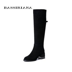 Image 1 - BASSIRIANA 2019 nowe zimowe buty damskie kozaki zamszowe, gumowe antypoślizgowe podeszwy na niskim obcasie.