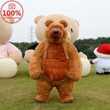 Inflável bonito peludo pelúcia urso mascote traje fursuit publicidade promoção halloween cosplay festa vestido peludo animal adulto