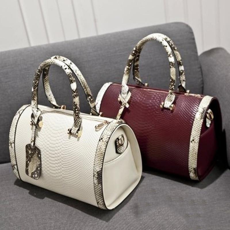 Super Quality Snakeskin Leather Women Handbag Shoulder Boston Bag Tote Italian Bags Sac A Main Borse Candy Color Luxury Handbags