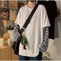С длинными рукавами и имитацией комплекта из двух предметов, футболка в полоску с рисунком больших рубашки, Мужская одежда, мужские Модные ...