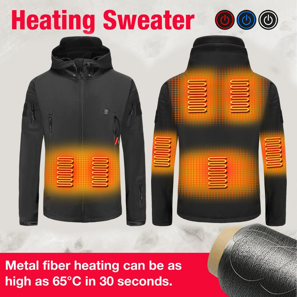 Electric Heated Vest Jackets USB Electric Heating Hooded Cotton Coat Camping Hiking Hunting Thermal Warmer Jacket Winter Outdoor