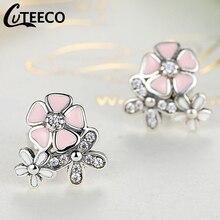 Cuteeco Silver Earrings Pan Daisy Drop Earring Pink Enamel With Clear CZ Zircon For Women Engagement Jewelry Gifts