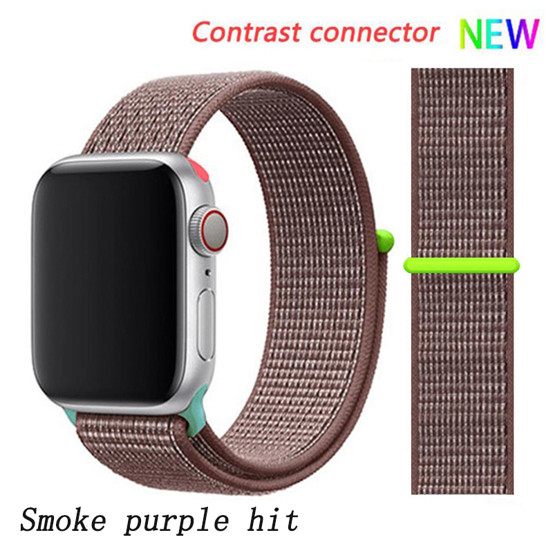 Спортивная петля ремешок apple watch band 42 мм 38 мм apple watch 4 3 band iwatch band 44 мм 40 мм correa pulseira 42 44 нейлоновый ремешок для часов - Цвет ремешка: Smoke purple 10 hit